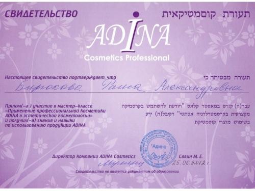 сертификат adina